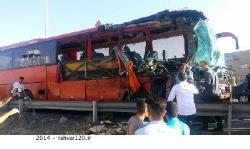 برخورد ٢ دستگاه اتوبوس در آزادراه تهران - کرج ٣ کشته و 6 مجروح بر جا گذاشت/ خواب آلودگی راننده اتوبوس مان علت حادثه + تصاویر